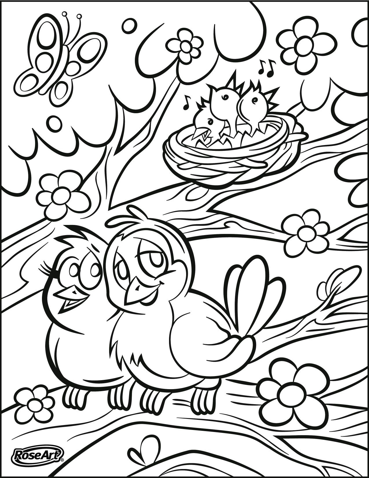 Happy Spring! Coloring pages (Printables) Pinterest