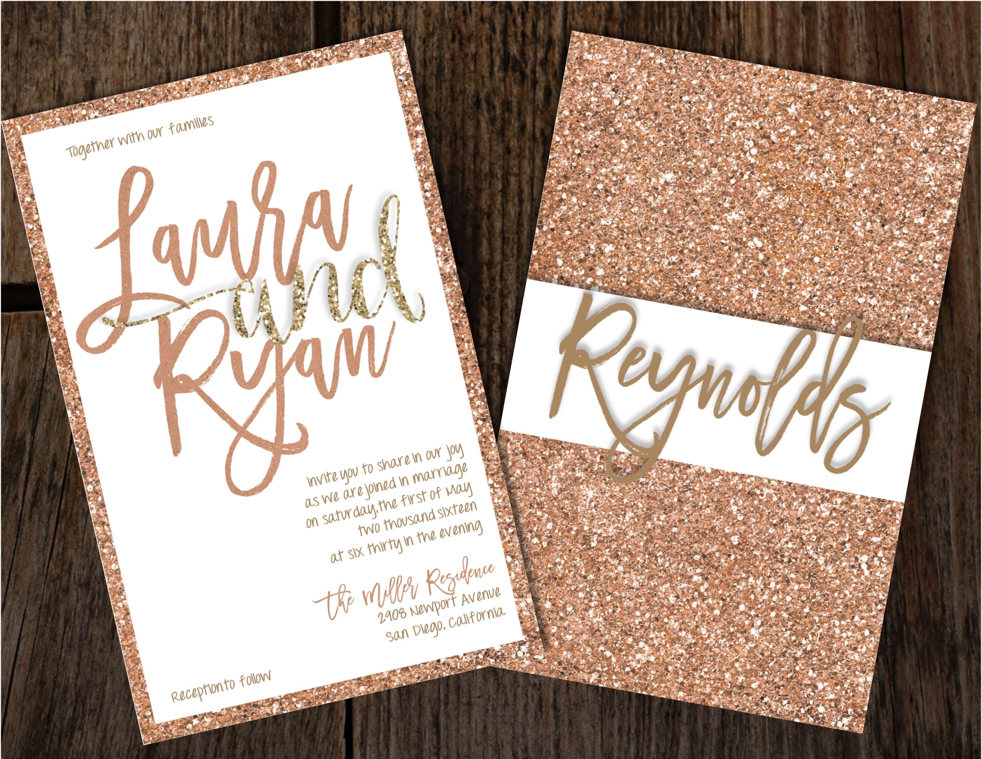 Cheap Plain Wedding Invitations: Rose Gold Glitter Wedding Invitations, Glitter Wedding