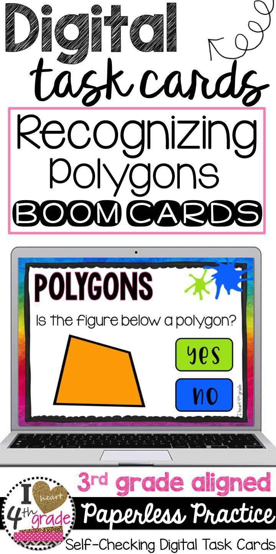 Polygon Digital Task Cards Polygons For 3rd Grade Understanding Polygons Polygon Boom Car Geometry Task Cards Teaching Geometry Google Classroom Geometry