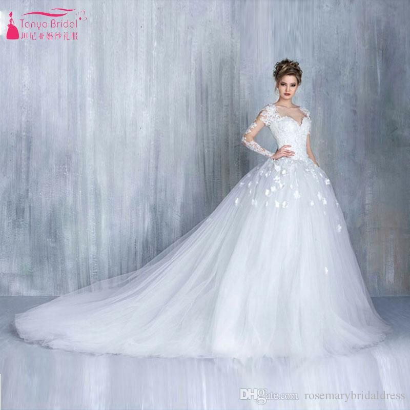 Long Sleeve 3d Flower Tulle Wedding Dresses Backless Illusion Bridal ...