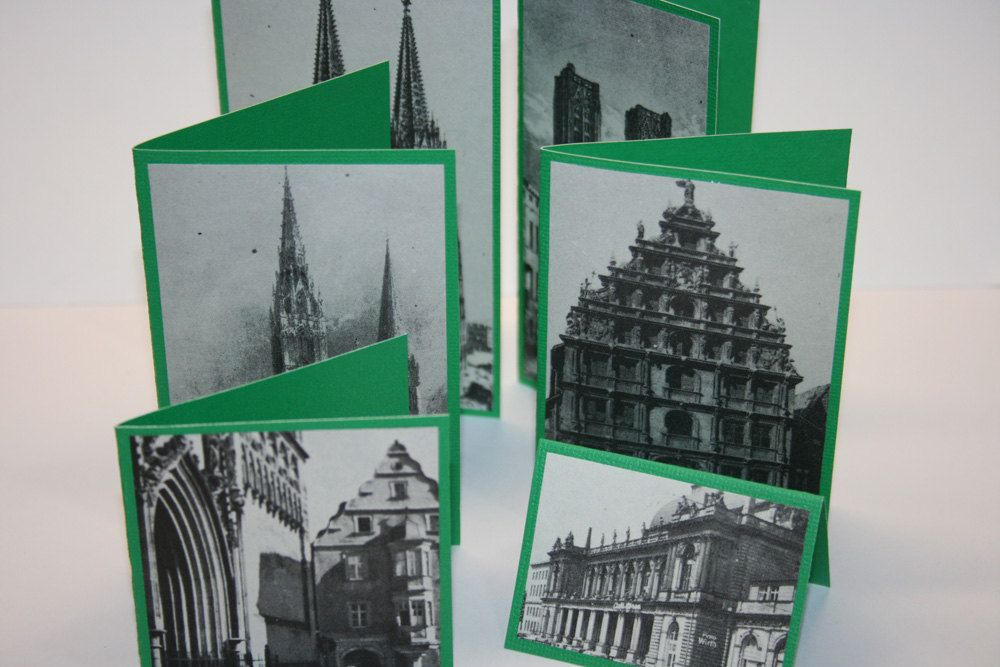 Set of 6 Vintage Building Mini Cards - Small Card - Green - Thank You - Gift Enclosure - Gift Tag - Birthday