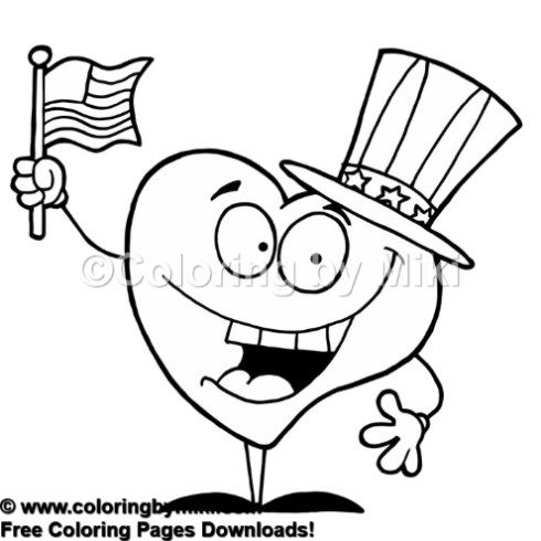 July 4th Independence Day Mr American Heart Coloring Page 743