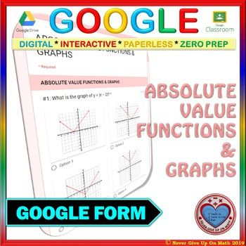 Use with Google Forms Absolute Value Functions Quiz or Hw