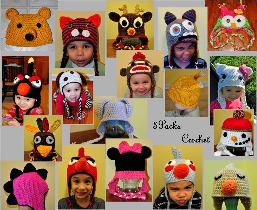 Crochet Pattern Pdf Earflap Zoo Animal Hats Baby To Adult Bear