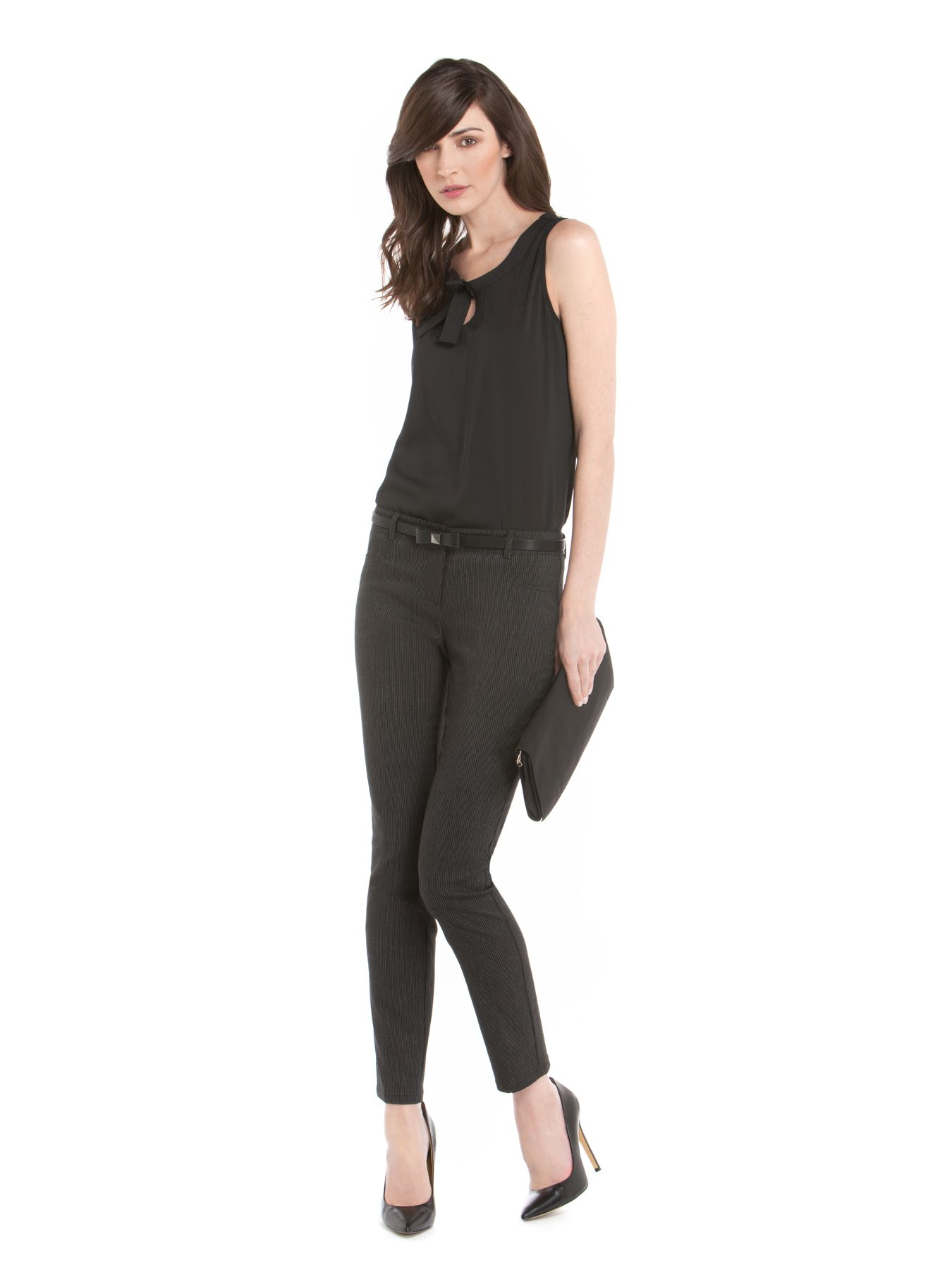 Pantalon tout-aller rayé deux tons 100 % fabriquée au Canada - Casual two-tone striped trousers 100% made in Canada