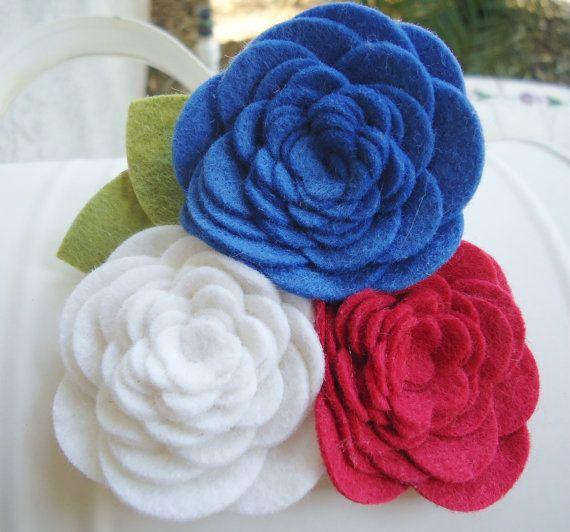 Vera Bradley Summer Cottage Inspired Wool Felt Flower Clip / Headband. $6.95, via Etsy.
