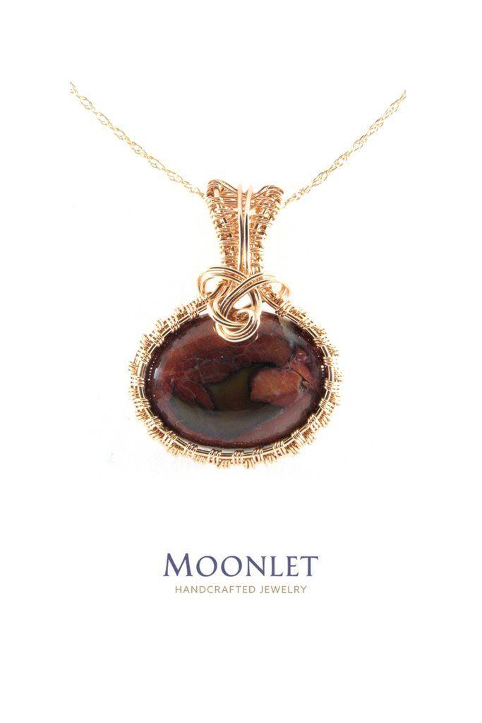 Butterfly Jasper Jewel Tone 14k Rose Gold Oval Pendant Necklace Wire