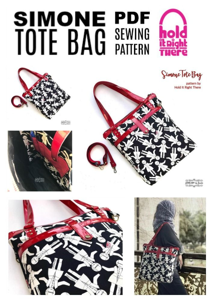 SIMONE TOTE - PDF Sewing Pattern - by Hold it Right There - Tote Bag ...