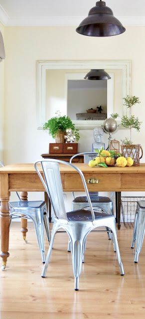 The Painted Hive  Tolix Chairs For The Dining Room  It Started Alluring Farmhouse Dining Room Table And Chairs Design Inspiration