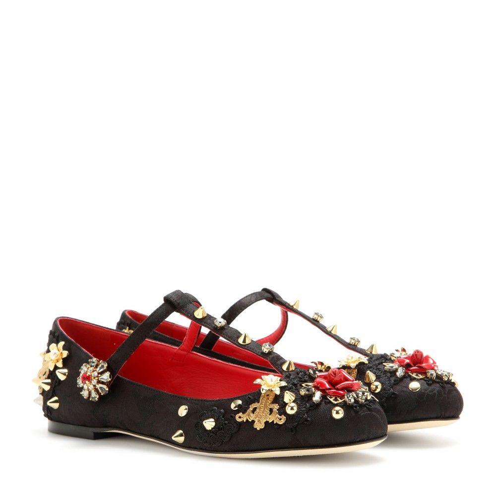 Dolce & Gabbana - Embellished brocade T-bar ballerinas