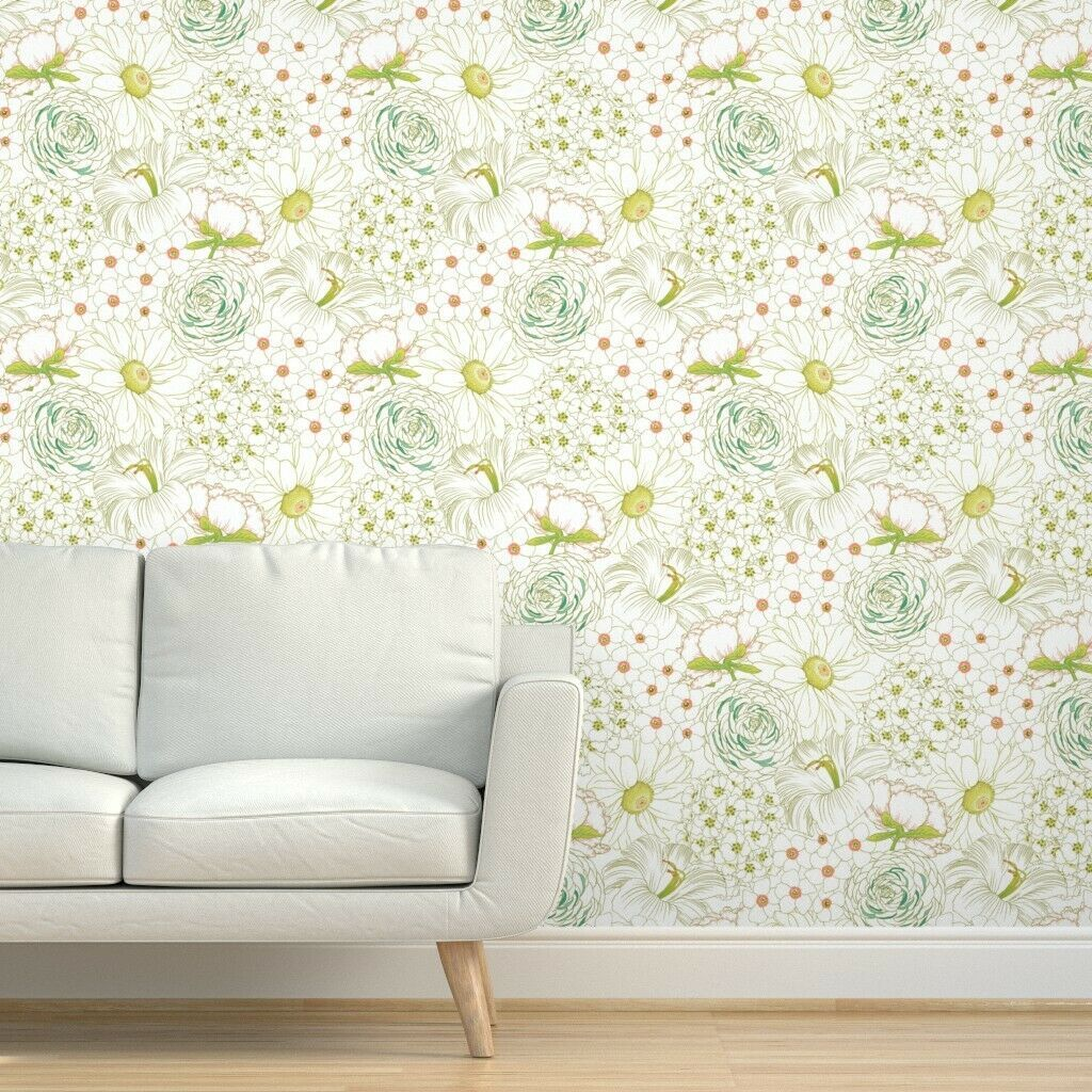 Removable Water Activated Wallpaper Floral Hand Drawn Illustrated Garden Green Ebay Floral Wallpaper Big Blooms Wallpaper
