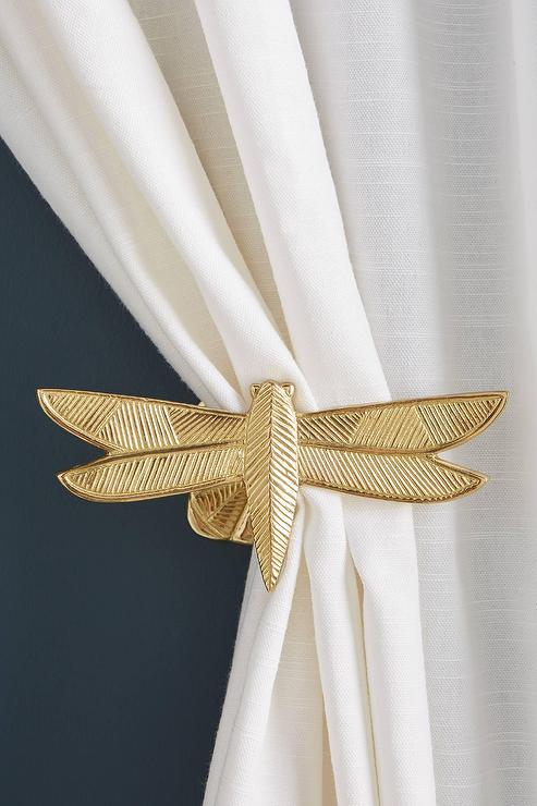Claude Textured Gold Dragonfly Curtain Tieback Tieback Decor Gold Curtains