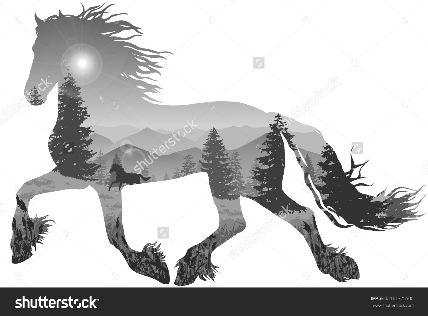 Silhouette Of A Running Horse Inside The Mountain Landscape