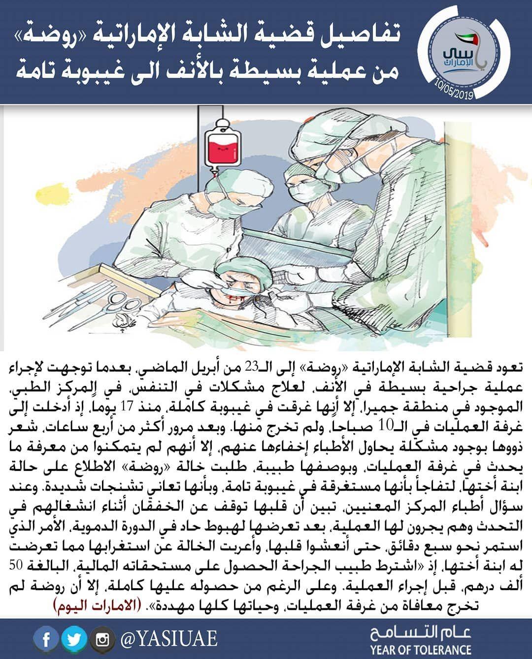 لاتنسوا من الدعاء تعود قضية الشابة الإماراتية روضة إلى الـ23 من أبريل الماضي بعدما توجهت لإجراء عملية جراحية بسيطة في الأنف لعلاج مشكل Map Screenshot Map