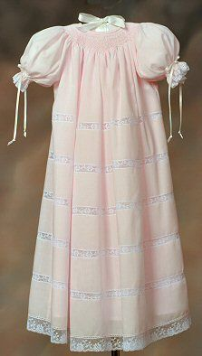 smocked daygown, Elegant Heirloom by Mattie