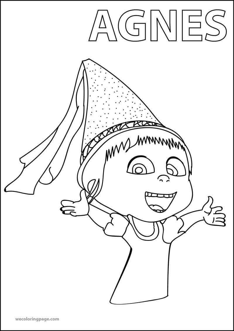 Agnes Despicable Me 2 Happy Coloring Page [ 1131 x 800 Pixel ]