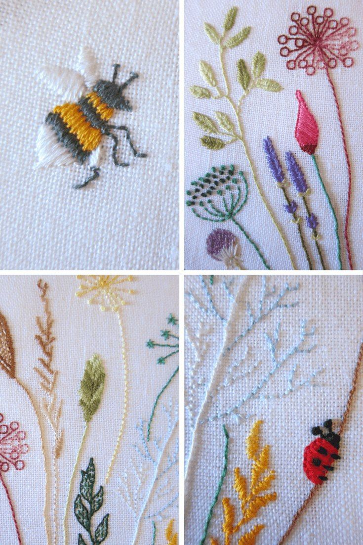 pinterest embroidery, Free floral meadow embroidery pattern Crewel embroidery