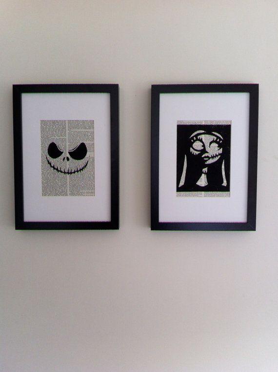 Tim Burton\u0027s A Nightmare Before Christmas This linocut print would - tim burton halloween decorations