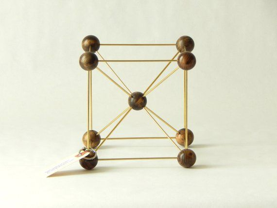 Handmade Molecular Model Body Centered Cubic Bcc Wood And Brass Science Decor For Home O Science Decor Mid Century Modern Decor Home Workshop