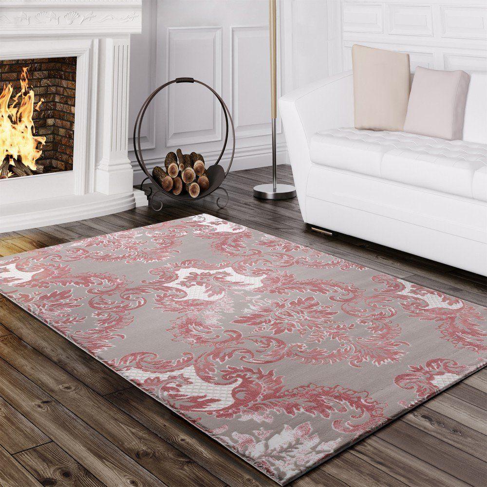 amazonde designer teppich edel hoch tief struktur glitzergarn barock muster wei grau rosa - Teppich Design Modern