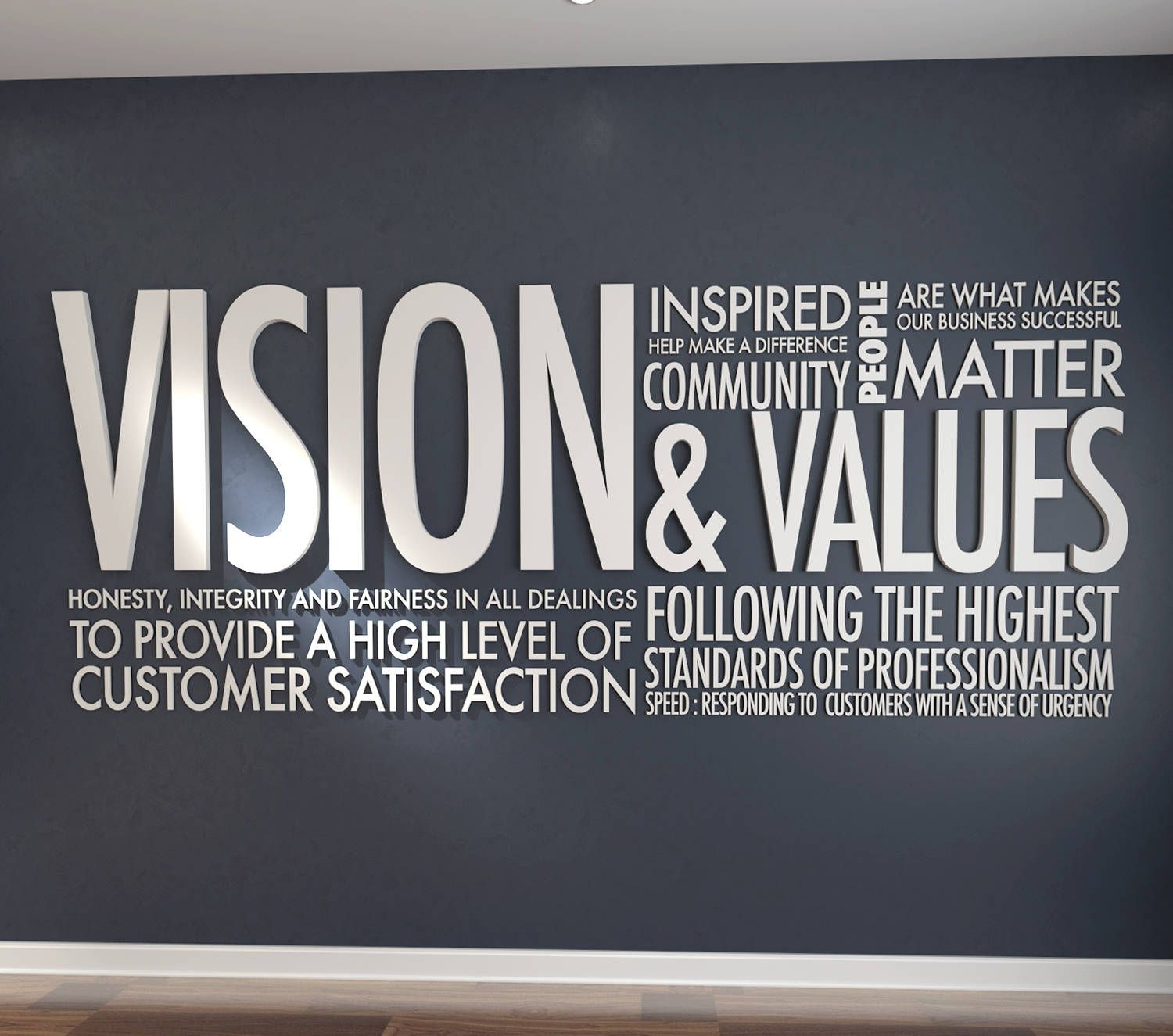 Vision Values 3d Letters Office Wall Art Wall Decal Wall