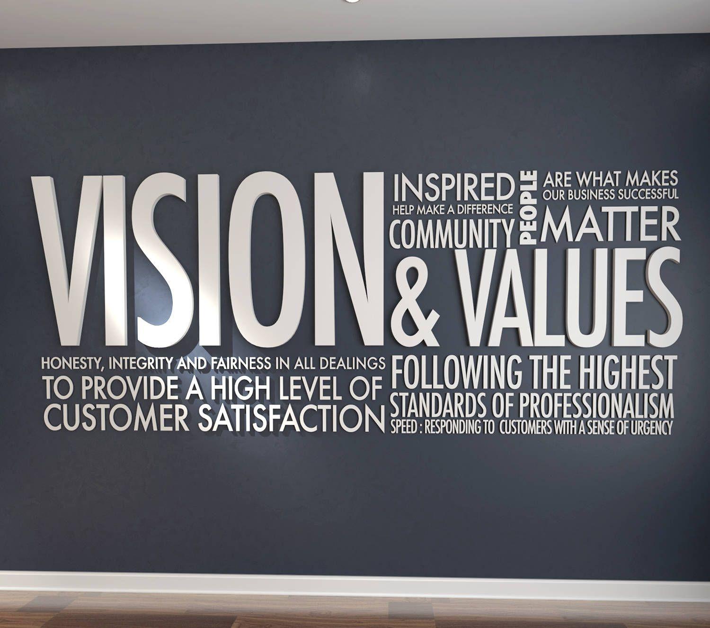 Décoration Murale Bureau Entreprise vision & values, bureau, deco bureau, décoration de bureau