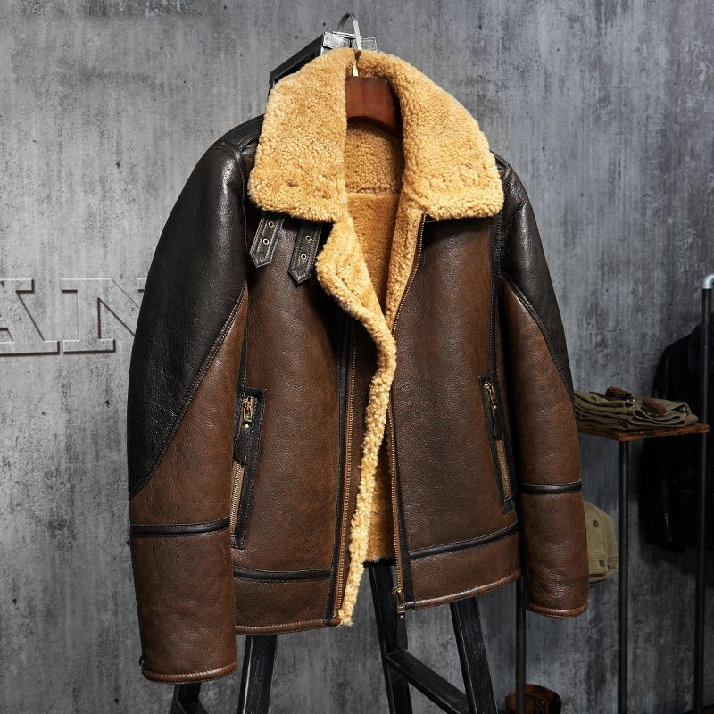 fef84f110713 Men s Shearling Leather Jacket Light Brown B3 Jacket Men s Fur Coat  Aviation Leathercraft Pilots Coat Original Flying Jacket(China)