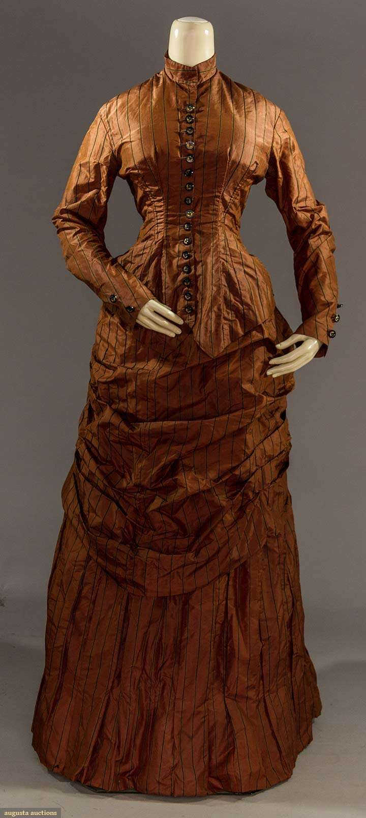 Day Dress (image 1) | late 1870s | silk | Augusta Auctions | May 11, 2016/Lot 2141