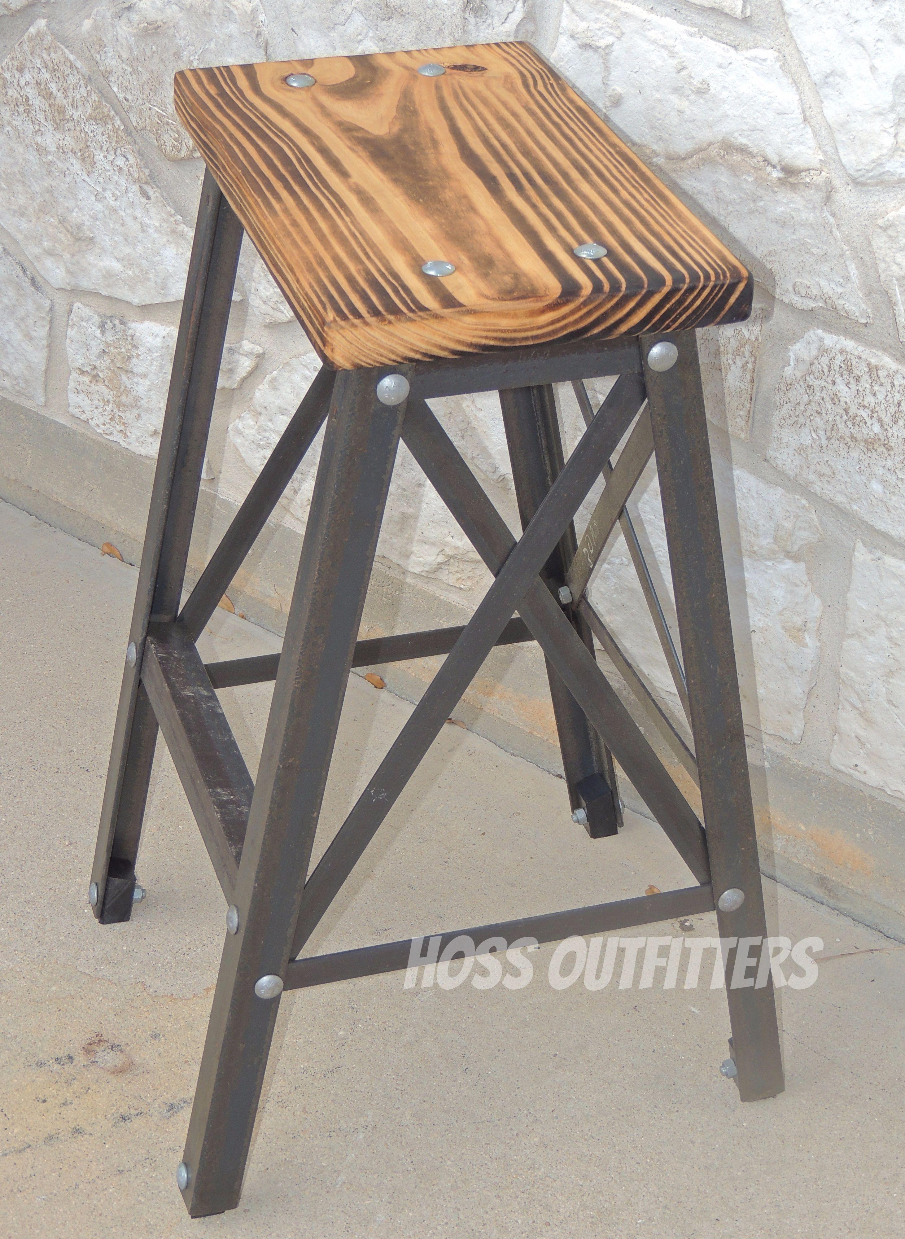 Bar Height Bar Stool Industrial Barstool Metal And Wood Bar