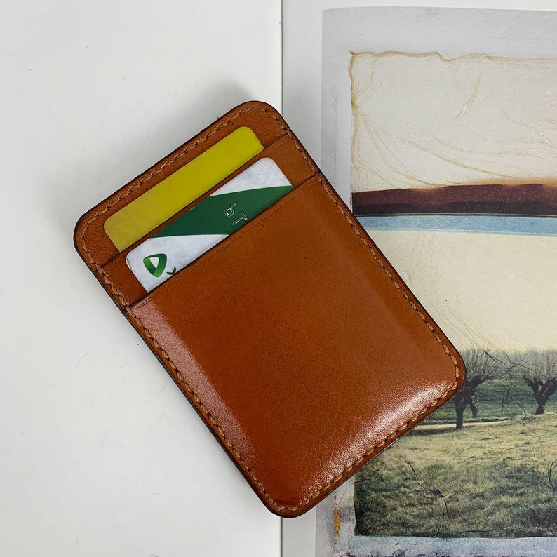 Vertical Card Holder Hand Stitched Leather Business Card Case Hand Sewing Minimalist Wallet Gifts For Him Gifts For Her Handmade Gifts