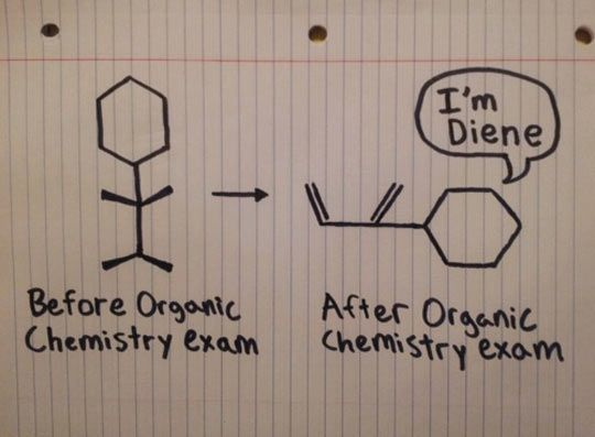 Organic chemistry exam… | Chemistry jokes, Chemistry humor ...