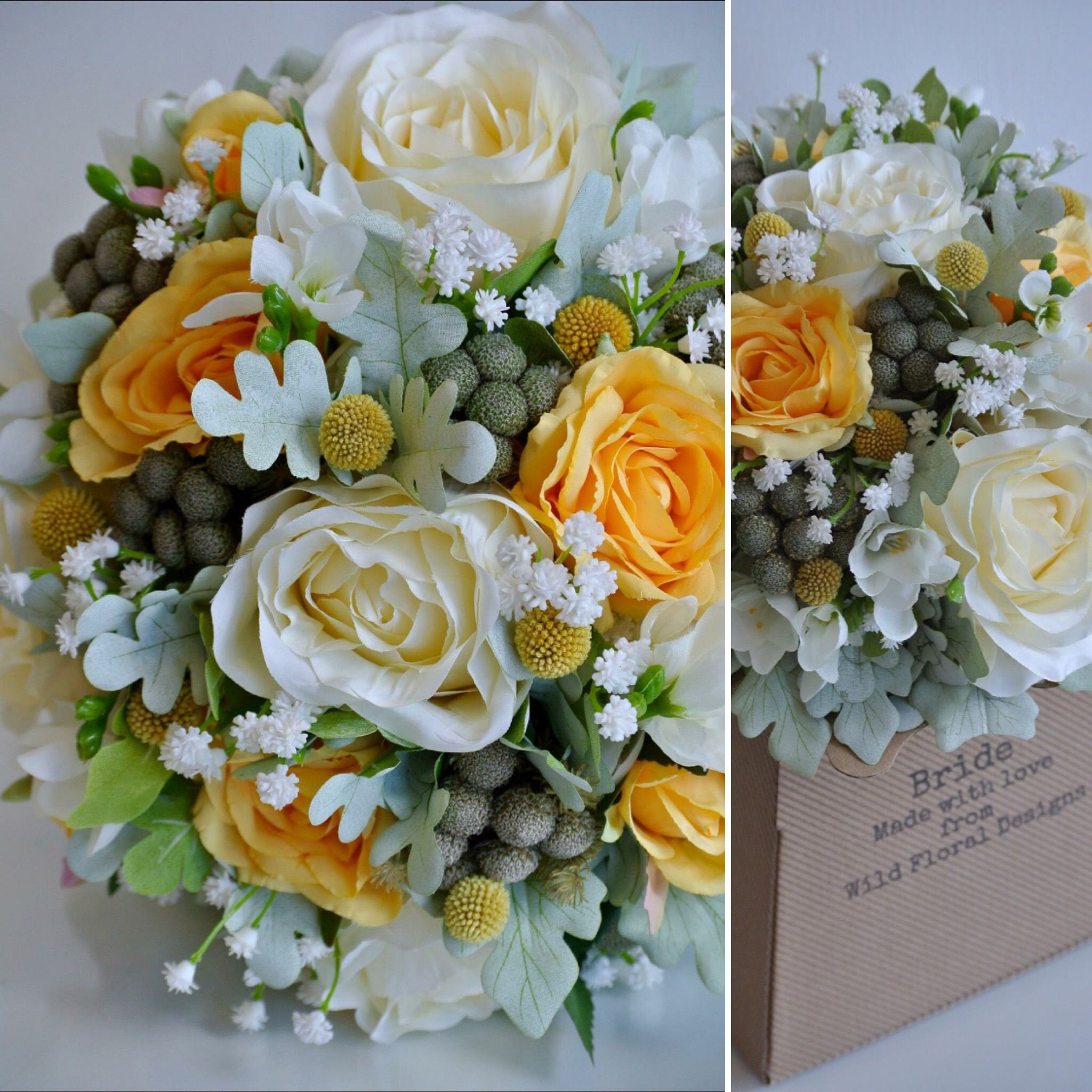 Yellow And Ivory Silk Artificial Brides Bouquets For Sale Uk