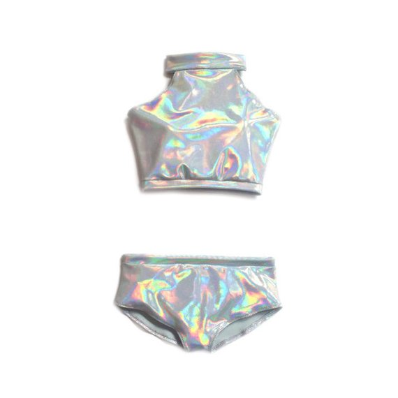 119ab0fb7ee Two Piece Swimsuit Holographic Two Piece Turtle Neck Crop Silver Metallic  festival clothing 90s colo