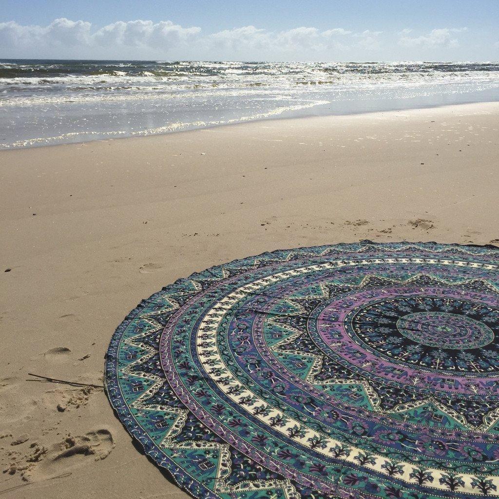 Round Mandala Indian Bohemian Elephant Tapestry Beach Picnic Throw Rug Blanket