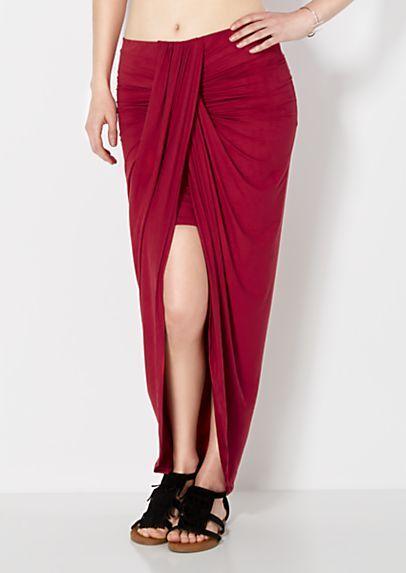 image of Microsuede Tulip Wrap Skirt