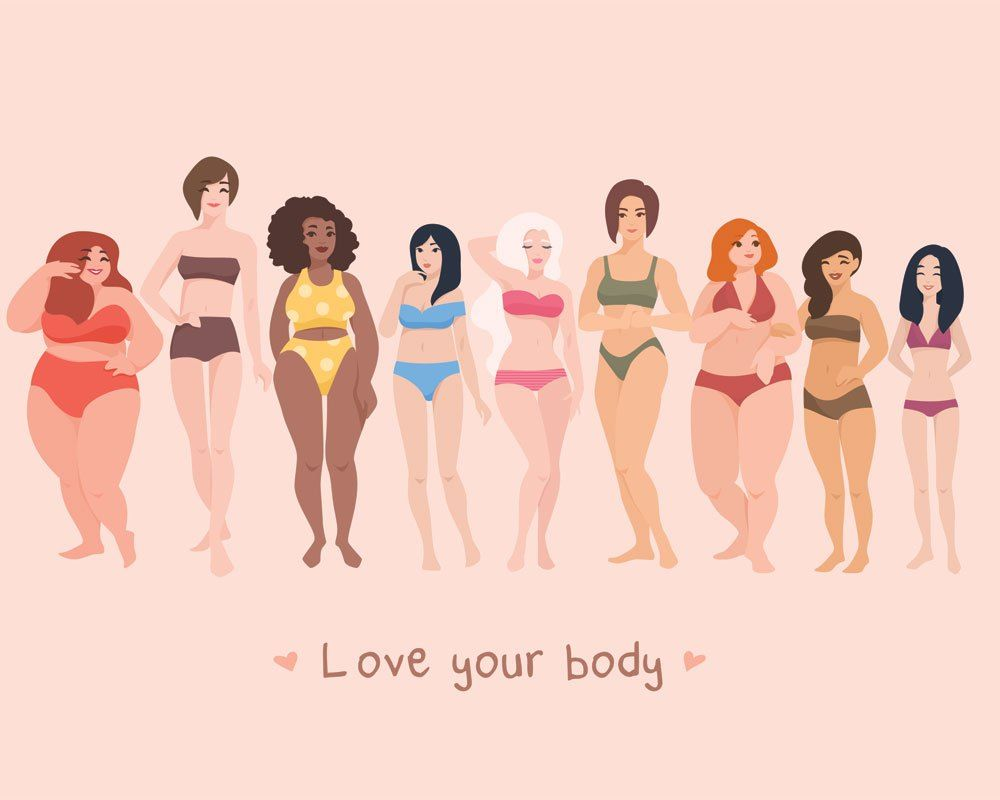 Multiracial Women Of Different Height, Figure Type And Size Dressed In Swimsuits Standing In Row. Female Cartoon Stock Vector - Illustration of cartoon, hairstyle: 99735394