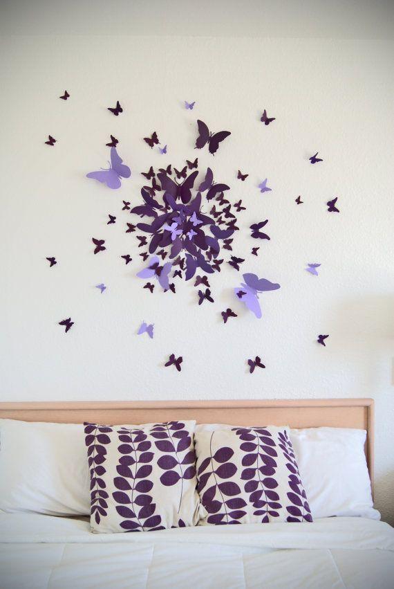 3d Butterfly Wall Art Decal Set Of 70 In Purple Paper Butterflies