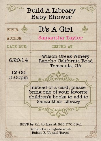Library card baby shower invitations baby shower pinterest build a library for baby card baby shower invitations filmwisefo