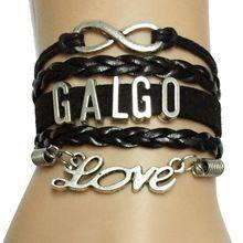 Drop Shipping Infinity/Love Galgo Dog Breeds Animal Paw Bracelet- Custom Handmade Multilayer Black Color(China (Mainland))