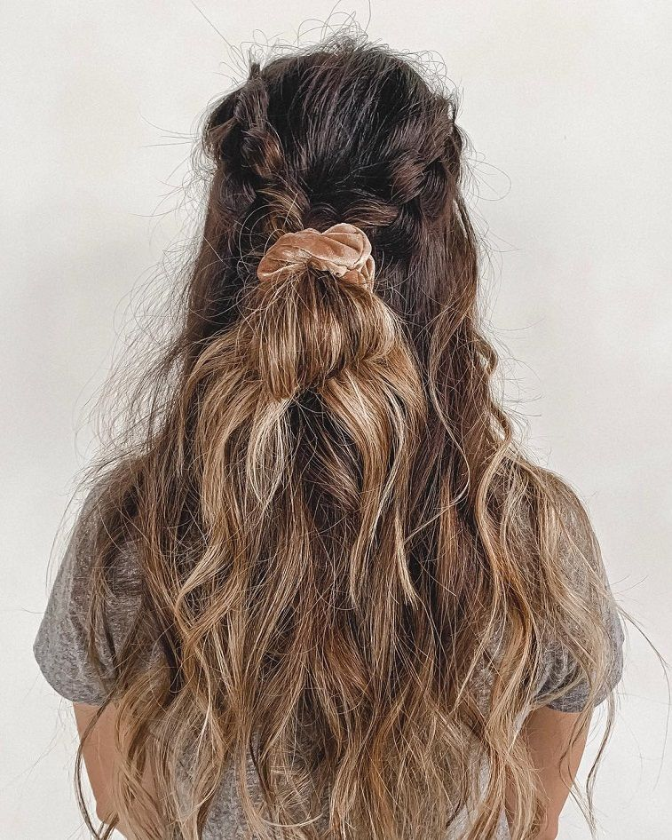 These hairstyles are lovely - easy dutch braid halfupdo and a cutie velvet scrunchie you can do this weekend, braid hairstyle , gorgeous hair color, braided ponytails ,messy braids #hairstyle #haircolor #braids #hair #bun #cute #messybraids