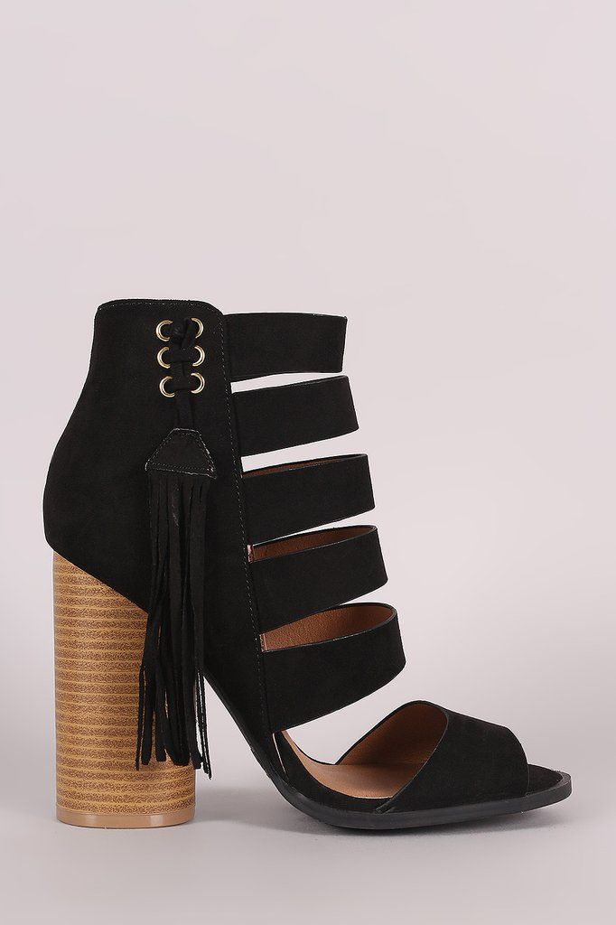 3f477eb03d7ee6 Qupid Strappy Fringe Tassel Rounded Chunky Heel