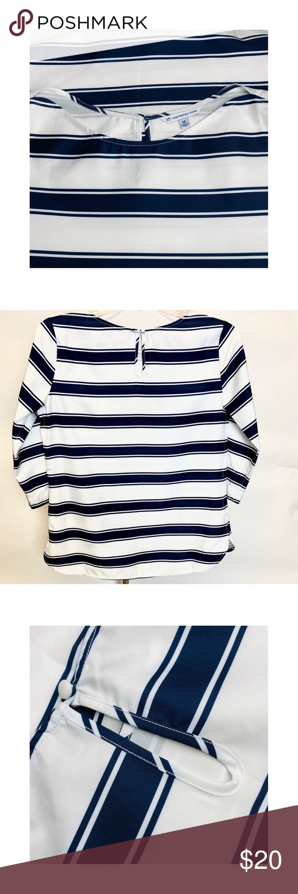 Southern Tide Women Blouse Blue White Stripes M Southern Tide Women Blouses For Women Blue Blouse