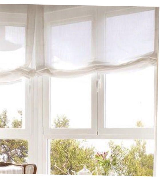 White Sheer Linen Relaxed Roman Shade Curtains Flat Roman Shade