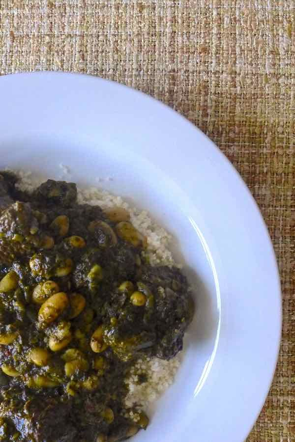 Pkaila A Tunisian Meat Dish With Spinach And White Beans Avec