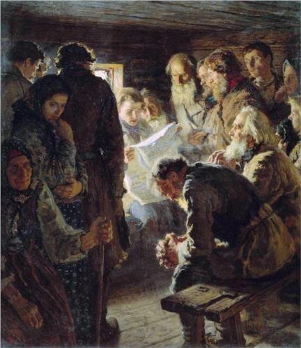 Reading the Newspaper. War News, 1905  - Nikolay Bogdanov-Belsky