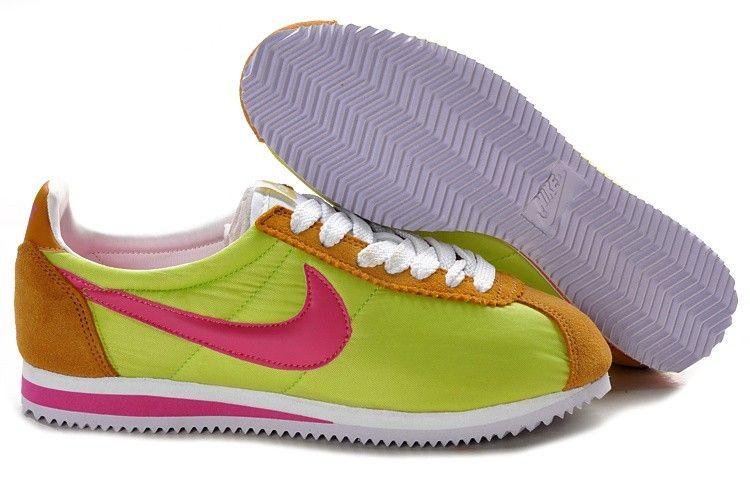Nike Cortez Nylon Vintage - Chartreuse Orange Rose Blanc - Homme Chaussures  Outlet en Ligne