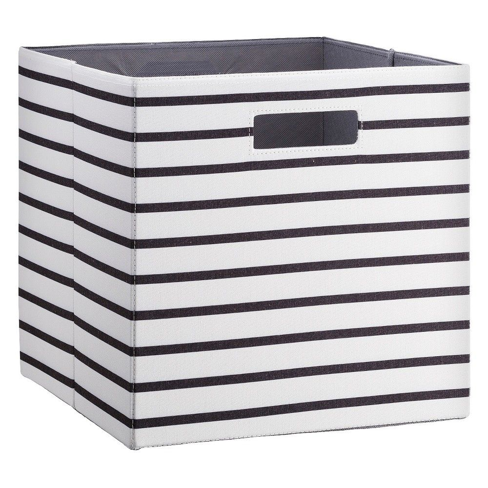 Fabric Cube Storage Bin 13 White Black Stripe Threshold Brown Carson S Room Cube Storage Storage Bins Collapsible Storage Bins