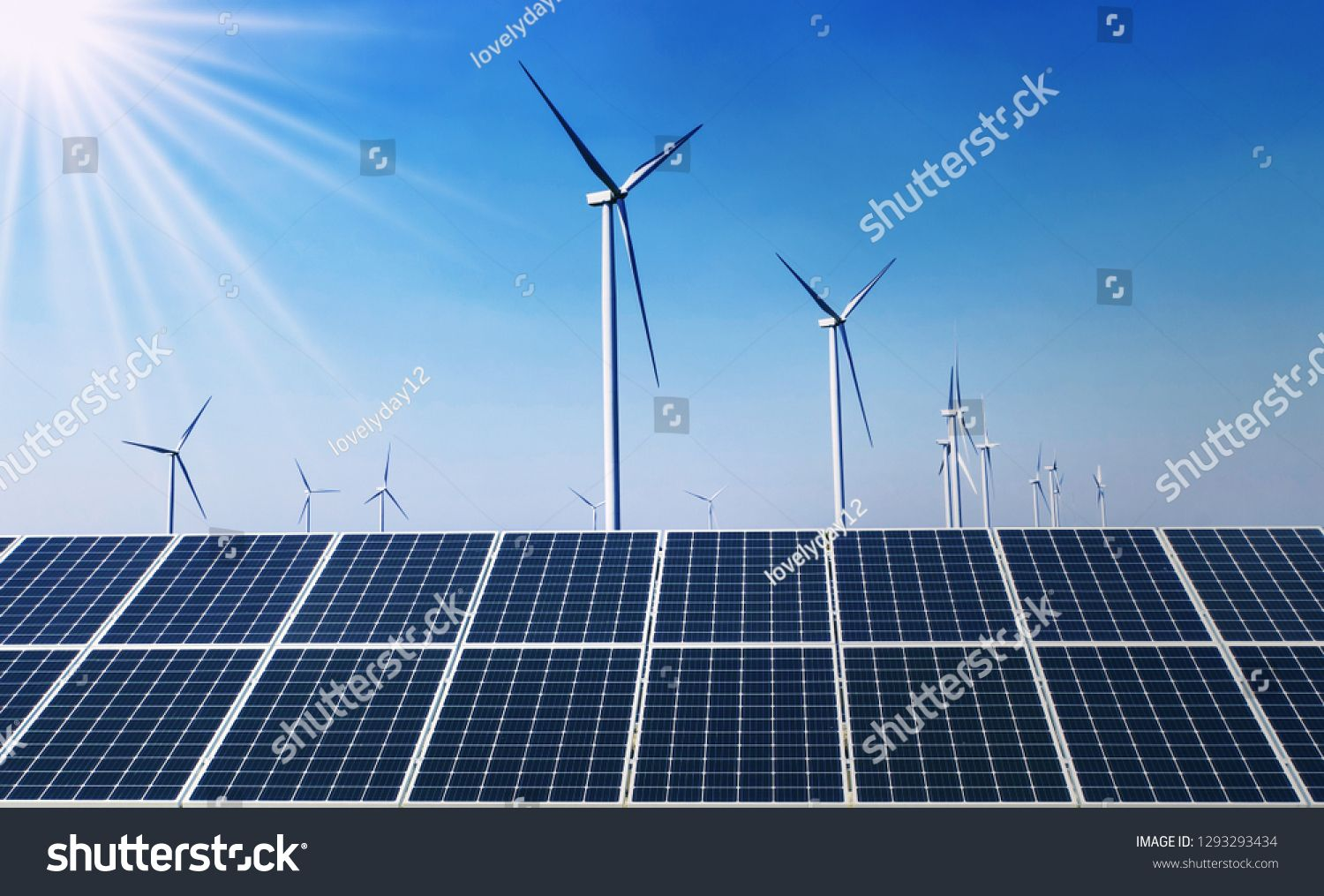 concept clean energy power in nature. solar panel with wind turbine and blue sky background #Ad , #Sponsored, #power#nature#solar#concept