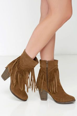 Badlands Tan Suede Mid-Calf Fringe Boots | Tans, Products and Fringes