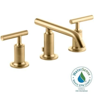 KOHLER Purist In Widespread Handle Bathroom Faucet In Vibrant - Gold faucets bathroom fixtures